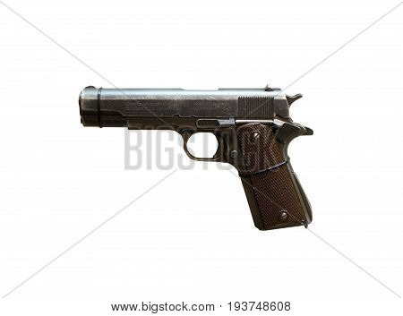 Wroclaw, Poland - July 4, 2017: Close Up On Colt 1911A  Handgun Isolated On White
