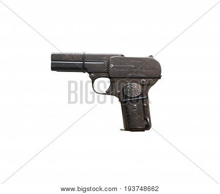 Wroclaw, Poland - July 4, 2017: Close Up On Dreyse 1907  Handgun Isolated On White