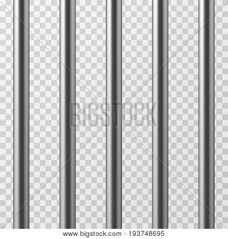 Realistic metal prison bars. Jailhouse grid isolated vector illustration. Prison bar steel, iron jail cage