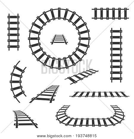 Straight and curved railroad tracks vector black icons. Transportation rail curve straight and road illustration