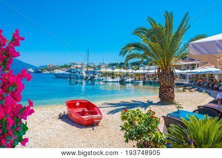 Kefalonia seaport and beach in Lefkada island Greece