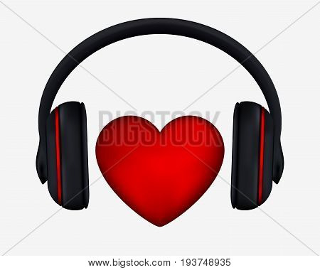 Headphones And Heart. Concept For Love Listening To Music. Isolated On White