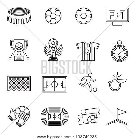 Soccer competition line vector icons. Football championship outline pictograms. Soccer championship sport game icons illustration