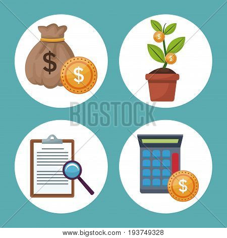 color background icons growth economy in circular frames vector illustration
