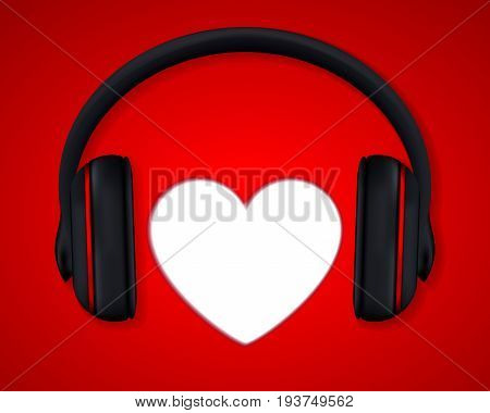 Headphones and Heart. Concept for Love Listening to Music