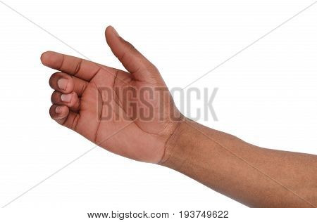 Black hand with virtual smartphone isolated on white background. African american man holding card, phone or other, void