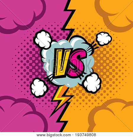 Versus vector cartoon comic book background. Fighting duel championship retro art. Competition and confrontation, compare and battle illustration