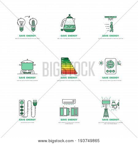 Vector set of posters which will reduce the use of electricity and reduce the fee for utilities