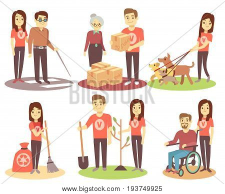 Volunteering and supporting people vector flat icons with young volunteer persons. Character woman volunteer help and giving illustration