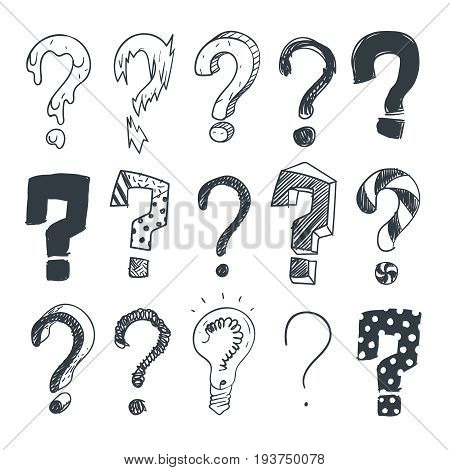 Doodle question marks. Hand drawn interrogation query symbols vector set. Mark sketch question collection illustration