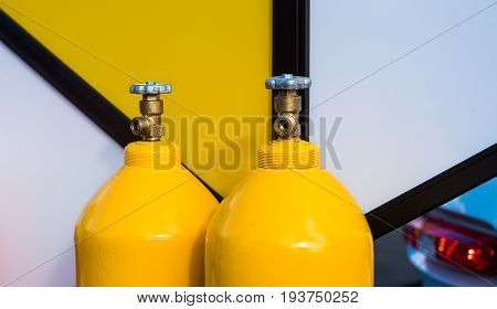 LPG gas bottles yellow god for industry desgn
