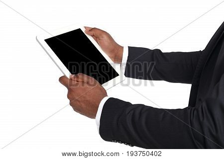 Holding and pointing to blank screen on digital tablet. African american businessman using device with blank screen, copy space for advertisement, isolated on white background