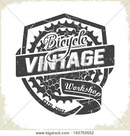 Vintage bicycles sprocket logo design, monochrome style, vector