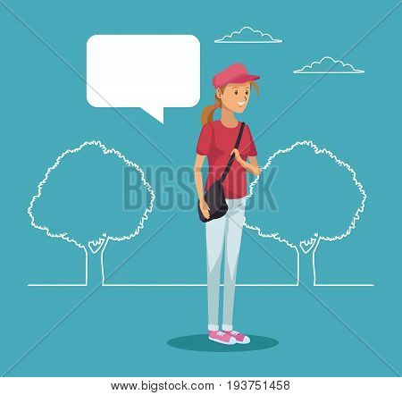 blue scene with silhouette landscape and colorful girl student standing with dialog box vector illustration