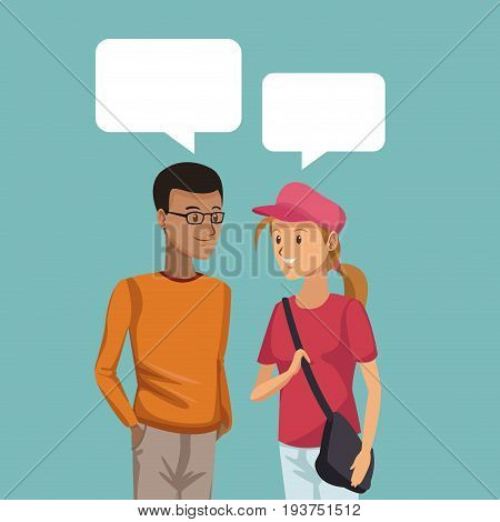 colorful scene half body couple students talking with dialog boxes boy brunette and blonded girl vector illustration