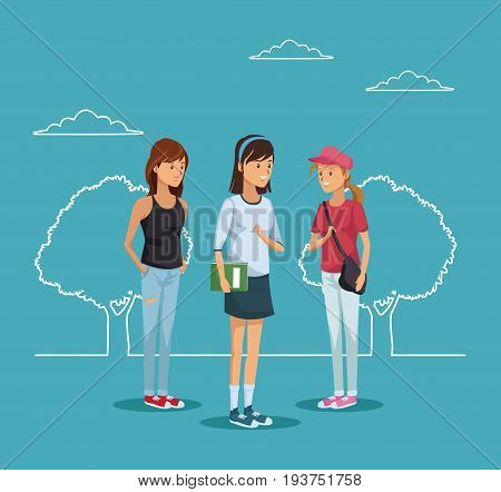 blue scene with silhouette landscape and colorful full body group women student vector illustration