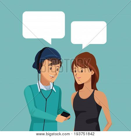 colorful scene half body pair students talking with dialog boxes vector illustration