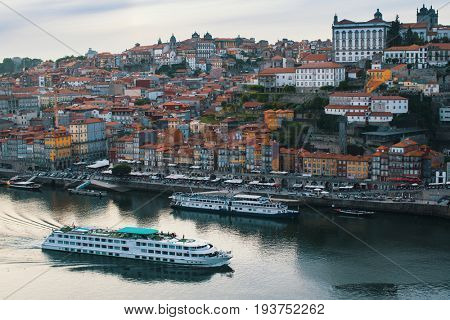 Bird's-eye view of Douro river and Ribeira in Porto, Portugal.