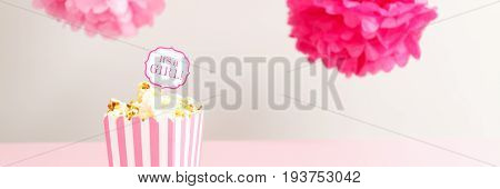 It's A Girl Sign In A Popcorn Bag At The Baby Shower Party.  Baby Shower Celebration Concept