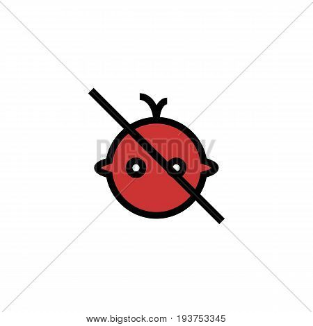 Stop or ban sign with child icon isolated on white background. Children are prohibited vector illustration. Kid is not allowed image. Babies are banned. Color flat design