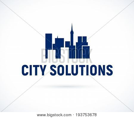 Vector flat construction company emblem template isolated. Business company brand mark and design bureau insignia, logo illustration isolated on white background.