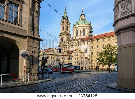 Prague, Czech Republic - June 5, 2017: Old Czech tram on Malostranska Square in Prague