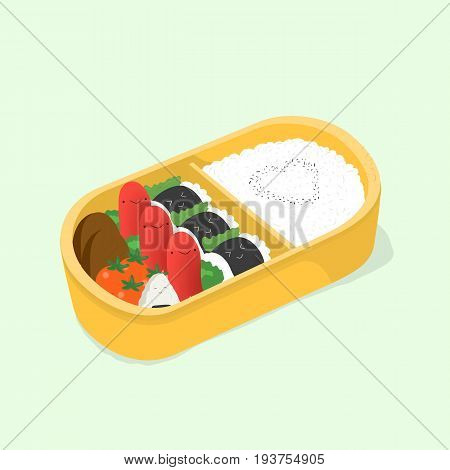 cute bento. Japanese lunch box. Funny cartoon food. Isometric colorful vector illustration
