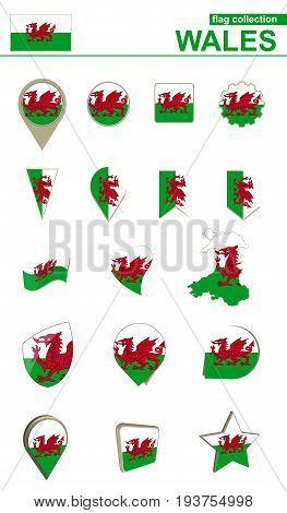 Wales Flag Collection. Big Set For Design.