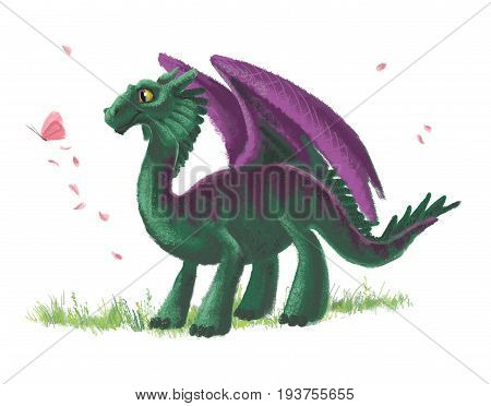 Hand drawn artistic funny dragon with butterfly portrait with nature elements isolated on white background. Friendly animal character design. Children book illustration.
