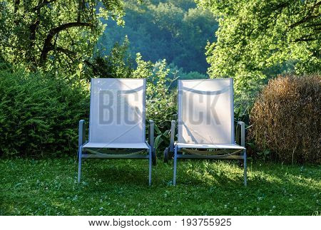 A pair of garden chairs in beautiful garden at sunrise time