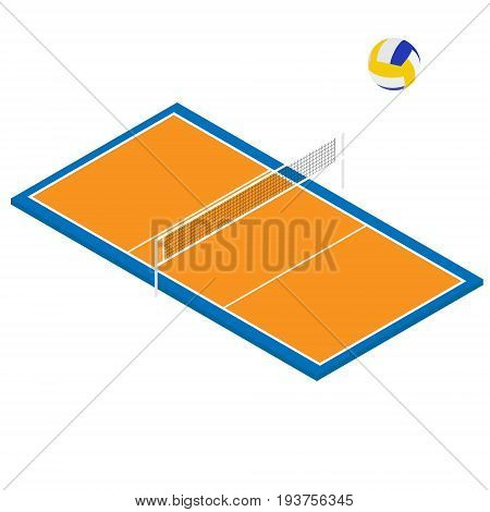 Volleyball Ball And Court