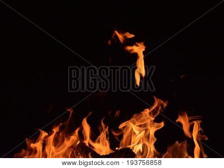 Fire flames on black background ature dance