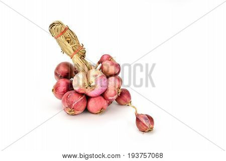 Shallots  (Red onion) bunch on white background.