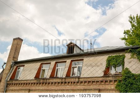 metal roof with skylights and chimney and Loft with sky