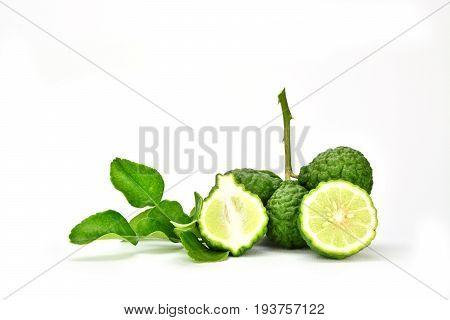 Bergamot (Kaffir lime) fruits with leaf isolated on white background.