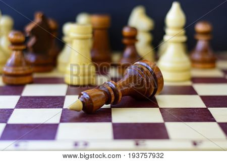 Concept of leadership success motivation. Chess pieces on the Board