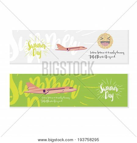 Summer Day Set Greeting Card. Font Inscription With An Airplane On The Background. Flat Vector Illus