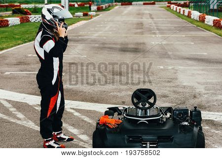 Woman Driving Go-cart, Toned Image, Color Image
