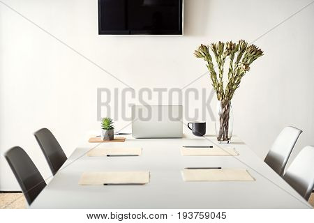 Minimalistic interior. Big table with chairs around it. Odd beautiful flowers in vase near open modern laptop