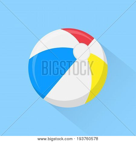 Beach ball flat icon with long shadow isolated on background. Vector illustration. Eps 10.