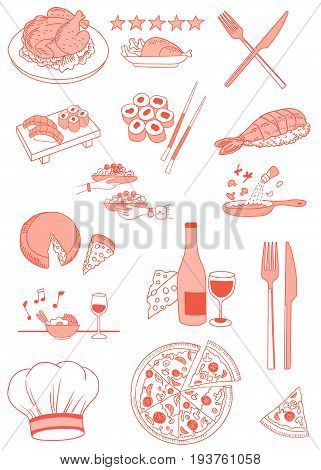 Food and Restaurant Vector Icons Set. Easy to change color with Hue/Saturation Tool.