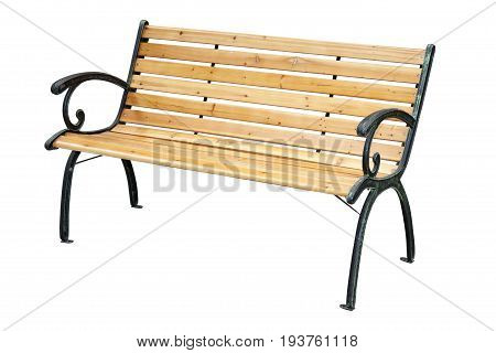 Wooden Garden Bench With Metal Elements Isolated On White Background With Clipping Path.
