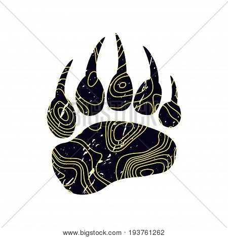 Trendy logo design. The modern trend fictional topo map design and a trace from a bear. Silhouette of foot with contour map. Abstract topographic icon. Yellow and black color. Mapping logotype.