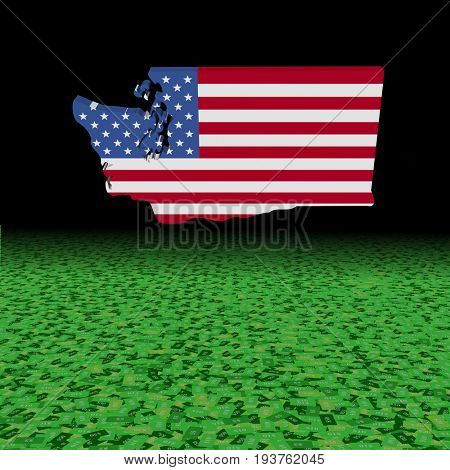 Washington map flag with abstract dollar foreground 3d illustration