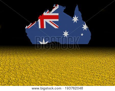 Australia map flag with dollar coins foreground 3d illustration