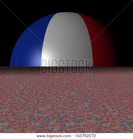 France flag sphere and abstract euros 3d illustration