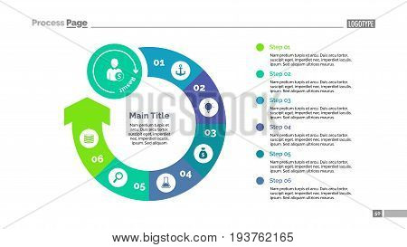 Six steps rounded arrow process chart slide template. Business data. Stage, diagram, design. Creative concept for infographic, presentation. Can be used for topics like management, strategy, training.