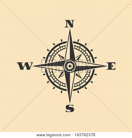 Compass icon. Black wind rose icon isolated on background. Vector illustration. Eps 10.