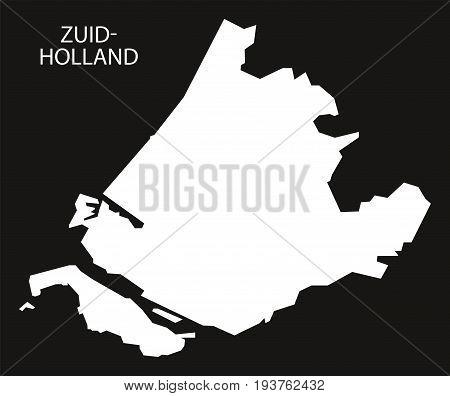 Zuid Holland Netherlands Map Black Inverted Silhouette Illustration