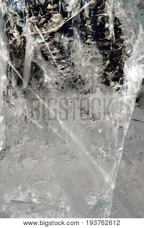 Natural Transparent Ice Crystals Texture Cracked Background